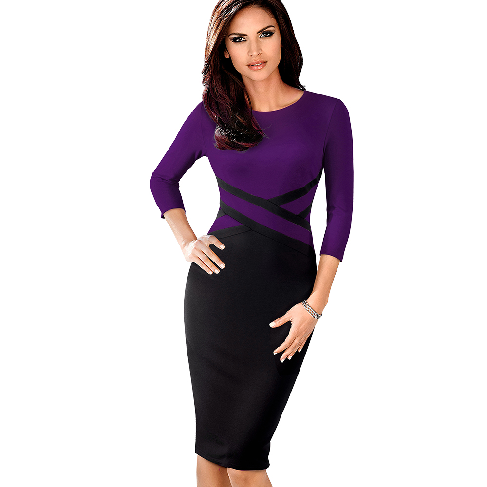 Lady Patchwork Contrast Autumn Casual Business Office Dress Work Elegant Three Quarter and short Sleeve Bodycon Dress EB463 17