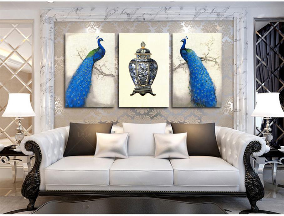 cuadros modernos de pavo real pintura de pared cuadros para la sala de pintura al leo