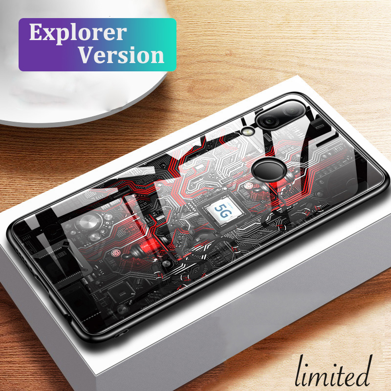 GFAITH Glass Case For Xiaomi Redmi Note 7 Case Painted Tempered Glass Silicon Protective Cover Redmi Note 7 Pro