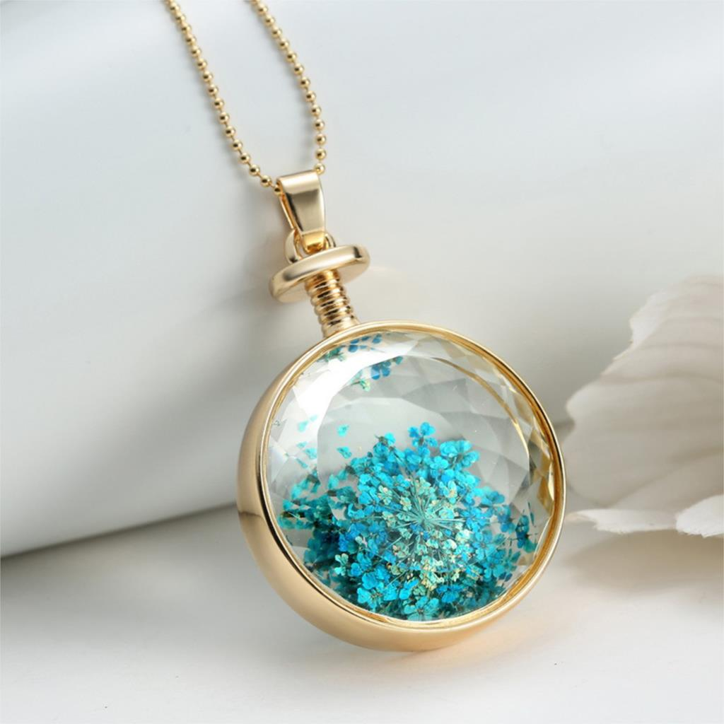 Very best LIEBE ENGEL Drop Shipping Vintage Collares Blue Dried Flower Glass  HC19