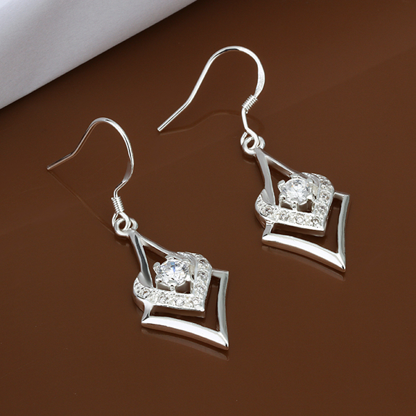 Unique Heart Style zirconia 925 pure silver Drop earrings e444 gift box Free Fashion New Jewelry accessary