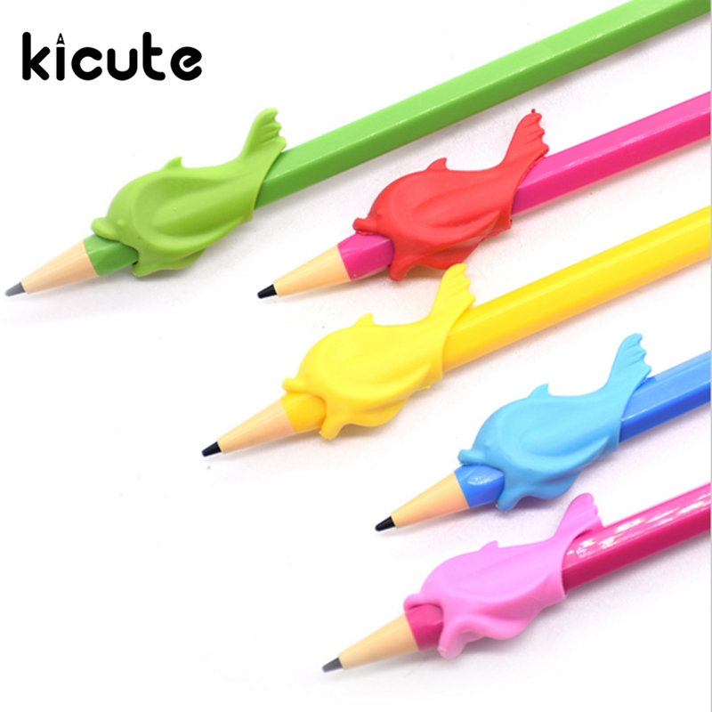 Kicute 5pcs/lot Pencil Grips Occupational Therapy Handwriting Aid Children School Statioery Pen Control Right Silicone Writing