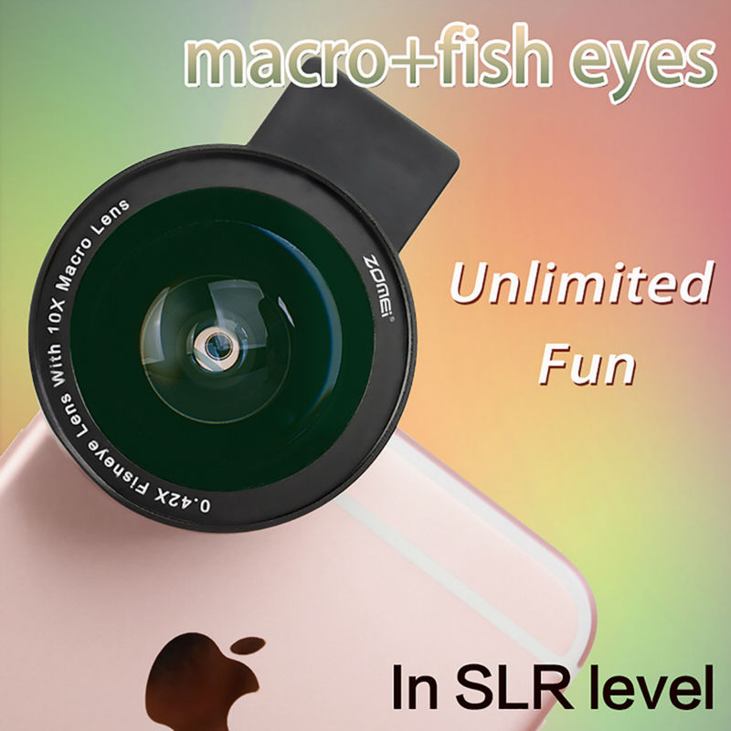 Zomei Mobile Phone Lens Fisheye Lens 10X Super Macro 4 in 1 Lens Kit Fish Eye