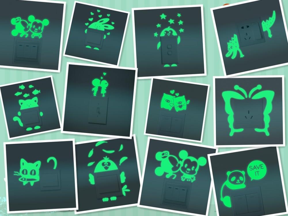 12 styles luminous diy cute home cat switch wall sticker night light