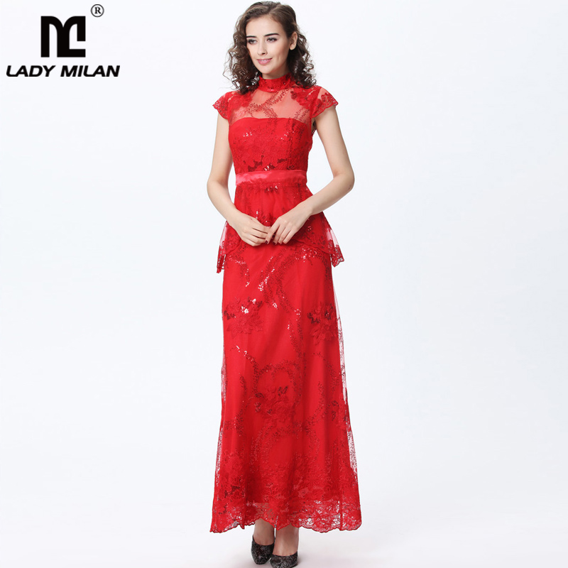 Lady Milan 2018 Womens Stand Collar Embroidery Ruffles Sequined Elegant Long Party Dresses