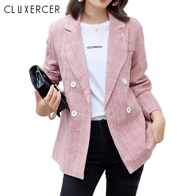 2018 New Spring and autumn Korea Pink Plaid Blazer Women Elegant Double Breasted Long sleeve blazer