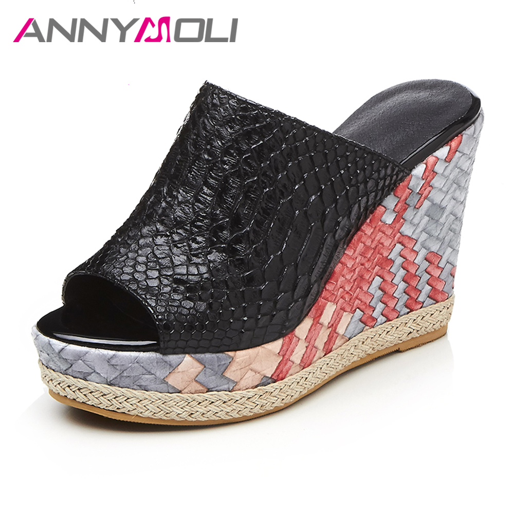 ANNYMOLI Women Sandals Platform High Heels Gladiator Ladies Slippers Wedges Women Black Shoes 2017 Summer Open Toe Ladies Slides phyanic 2017 gladiator sandals gold silver shoes woman summer platform wedges glitters creepers casual women shoes phy3323