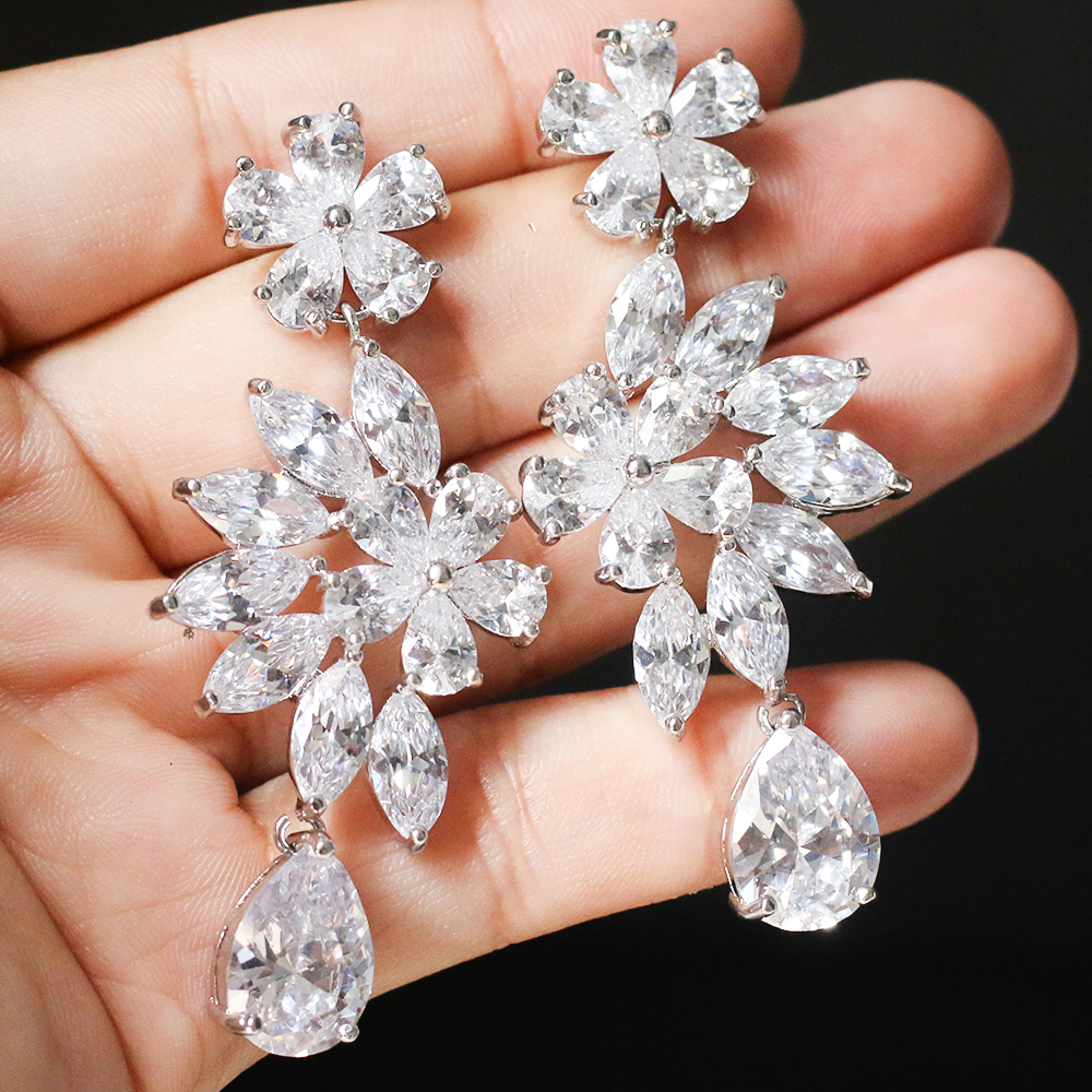 ASNORA Fashion Shiny Zircon Earrings for Women Bridal Earring Jewelry Wedding Accessories Earrings Girls' Bithday Gifts
