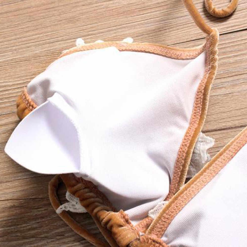 Joyería marrón bordado natación Bikini Sexy calidad gema piedra Stitch traje de baño verano vocacional Biquini uso venta