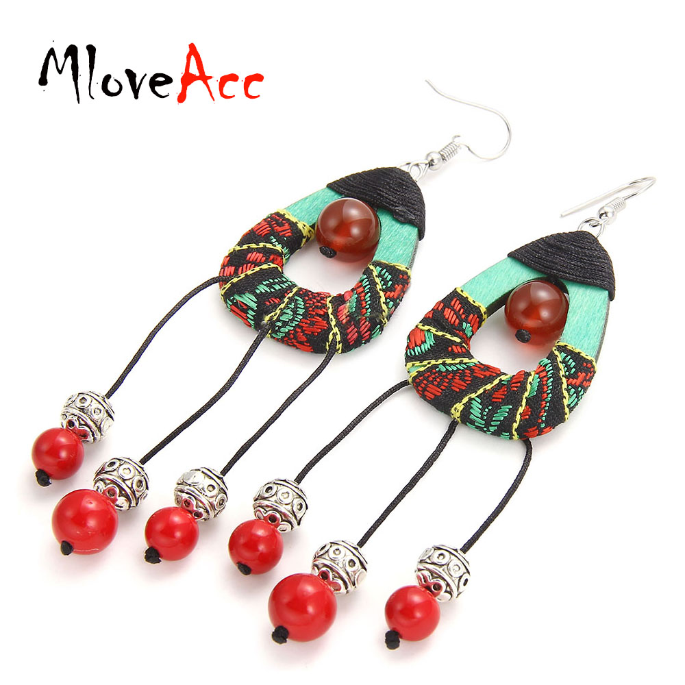 MloveAcc Vintage Ethnic Handmade Tassel Earrings for Women Chinese Traditional Style Fabric Braided Drop Earrings Accessories
