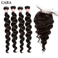 Свободные волновые пучки с закрытием бразильские волосы девственницы 4 шт. человеческих волос ткань добавить 4 x 4 Кружева застежка CARA