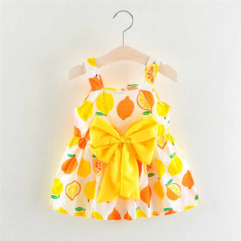 785d0a82bf87e Newborn Toddler Baby Girls Lemon Print Strap Princess Party Casual Dress  Clothes girl dresses kids casual vestidos infantil #sg