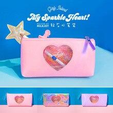 20 Pcs Kawaii Pencil Case Diamond heart PU Gift Estuches School Pencil Box Pencilcase Pencil Bag School Supplies Stationery