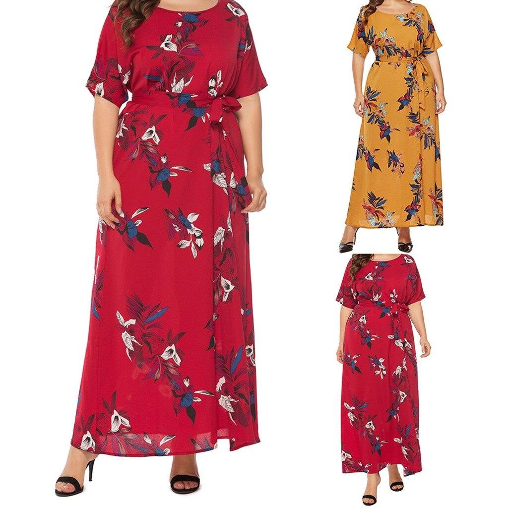 Женское платье макси с круглым вырезом, летнее платье большого размера с цветочным принтом, оптовая продажа, y3, 2019|Платья|   | АлиЭкспресс