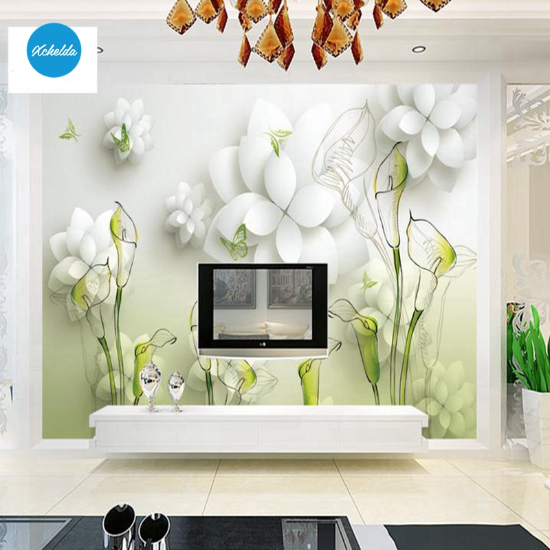 XCHELDA Custom 3D Wallpaper Design White Flower Photo Kitchen Bedroom Living Room Wall Murals Papel De Parede Para Quarto kalameng custom 3d wallpaper design street flower photo kitchen bedroom living room wall murals papel de parede para quarto