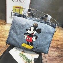 Disney Mickey Mouse Cartoon duża pojemność Shopper cowboy torba na ramię torebka damska kobiety zakupy torba rekreacyjna Fashion street