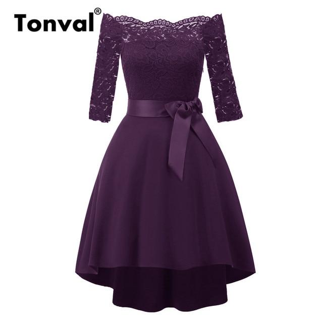 03ec5c84804e3 US $21.99 40% OFF|Tonval Lace Contrast High Low Hem Midi Purple Dress  Elegant Belted Off Shoulder Sexy Dresses Women Autumn Party Dress-in  Dresses ...