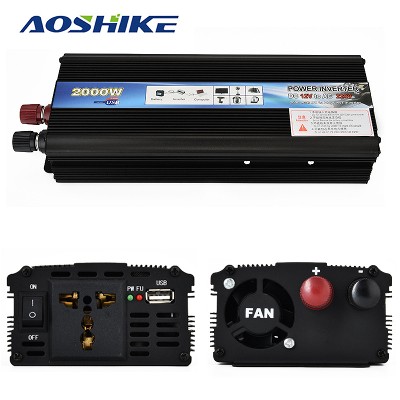 Aoshike Professional 2000W Car Inverter DC12V to AC220V Power Inverter Charger Converter Transformer Vehicle Power Supply Switch digital display vehicle 2000w usb car power solar inverter converter 12v dc to ac 220v usb charger adapter portable voltage