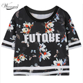 2017 Summer Style Harajuku Floral Letters Print Tee Short Preppy Style T-shirt Women Casual Bustier Crop Tops TS-080