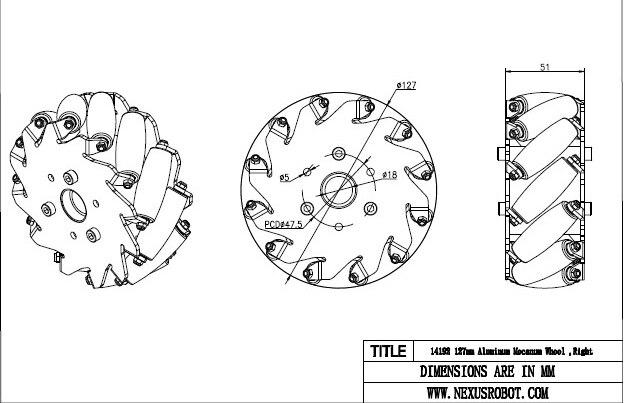 Набор 5 дюймов 127 мм для легких нагрузок типа колеса Mecanum (колесо Mecanum) 14193 колесо всенаправленное