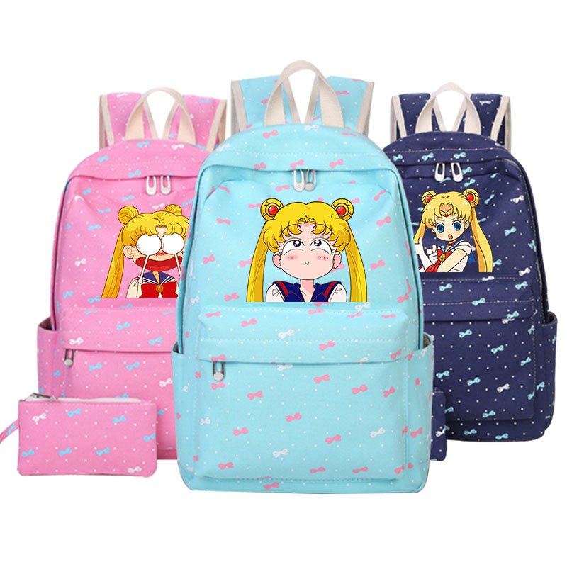 Anime Sailor Moon cosplay Printing Backpack pink Schoolbag Backpacks for Teenage Girls Canvas Cartoon Shoulder Bag Mochila children school bag minecraft cartoon backpack pupils printing school bags hot game backpacks for boys and girls mochila escolar