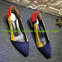 Szpiczasty Nosek Niebieski Czerwony Żółty Mieszane Kolor Kobiety Pompy Sexy Obcasy niskie Góry Luksusowa Marka Runway Super Star Buty Lady Zapatos Mujer