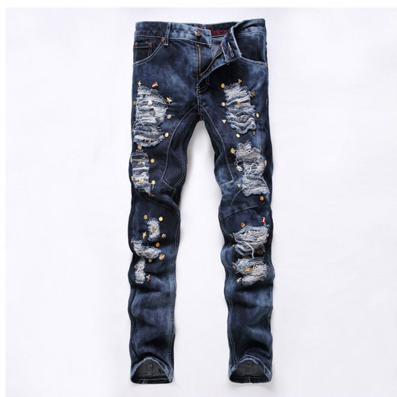Men's Hole Jeans 2017 Fashion Men Rivet Straight Jeans Casual Autumn Ripped Long Pants Male Blue Nightclub Jeans Slim Trousers jeans men slim straight ripped jeans male hole jean pants casual denim trousers high quality all match long men s biker jean 54