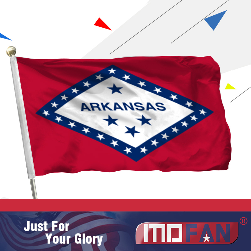 MOFAN <font><b>Arkansas</b></font> State Flag Polyester- Canvas Header and Double Stitched - <font><b>Arkansas</b></font> AR State Flags with 2 Brass Grommets 3x5 Ft image