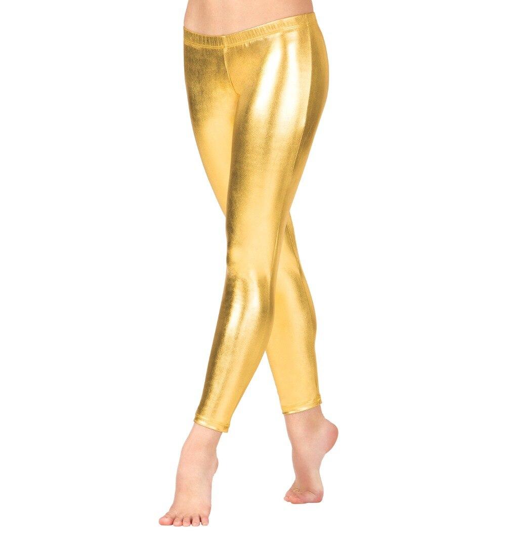 Adult Low Waist Full Length Spandex Metallic Gold Leggings Shiny Lycra Disco Dance Pants Plus Sizes