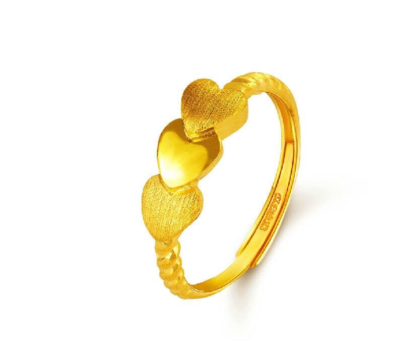 Pur 999 24 K or jaune coeur corde anneau 3.02g
