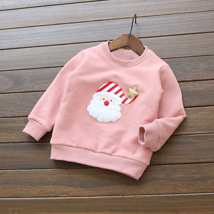 Baby Girl Boy Sweaters Christmas Gift Cartoon 100% Cotton Comfortable Add Wool Kids Pullovers Pink Blue Babe Clothes Hot Sale