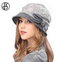 FS Lady Elegant Winter Knit Beret Hat For Women Gorra Boinas Fashion Gray Brown Wool Brim