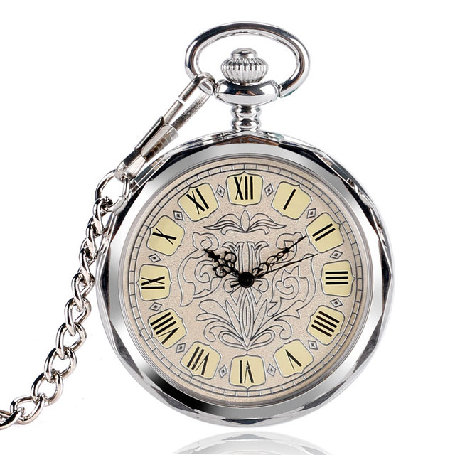 2016 Classic Open Face Pocket Watch Vintage Silver Mechanical Hand Wind Clock Re
