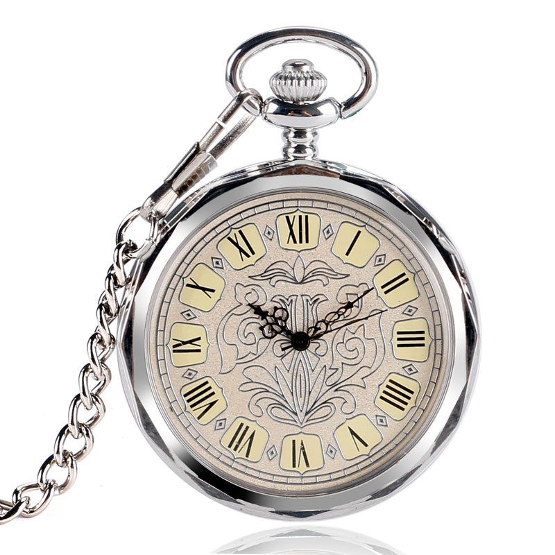 Classic Open Face Pocket Watch Vintage Silver Mechanical Hand Wind Clock Relogio De Bolso With Chain For Men Ladies Necklace