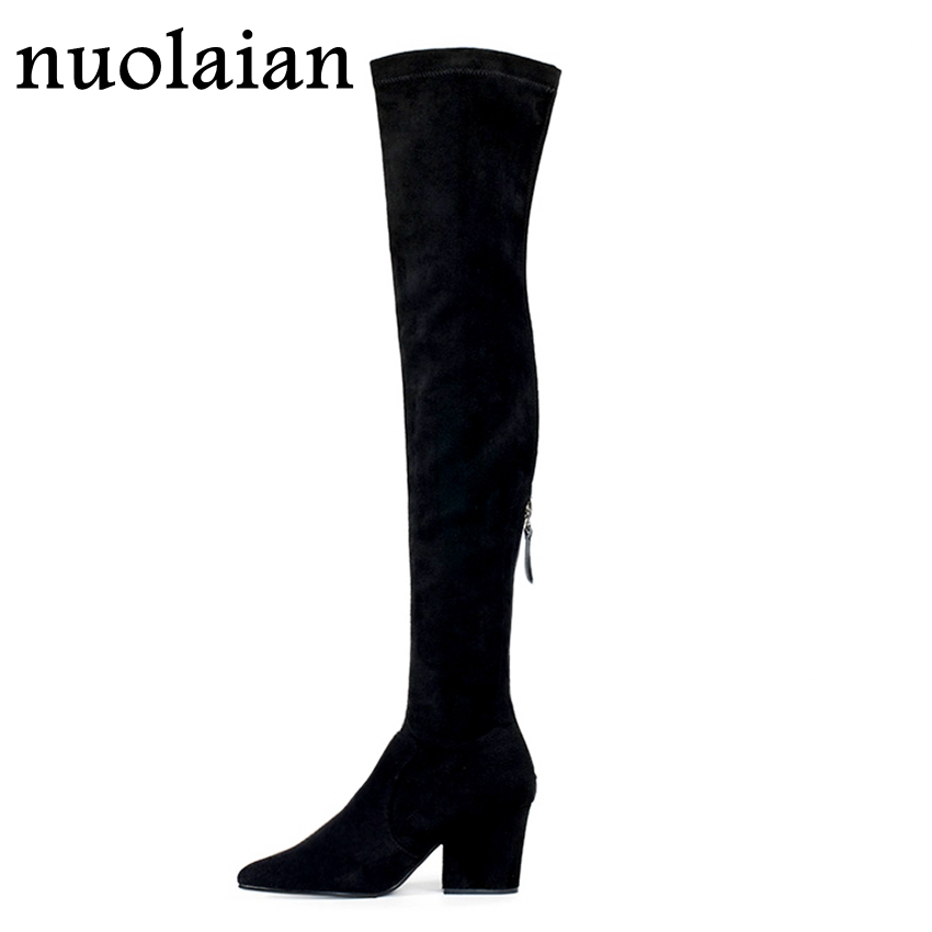 Faux Suede Black Boots Woman Punk Over The Knee High Heels Boot Women Fashion Winter Shoes Thigh High Sock Long Boots 7.5cm HeelFaux Suede Black Boots Woman Punk Over The Knee High Heels Boot Women Fashion Winter Shoes Thigh High Sock Long Boots 7.5cm Heel