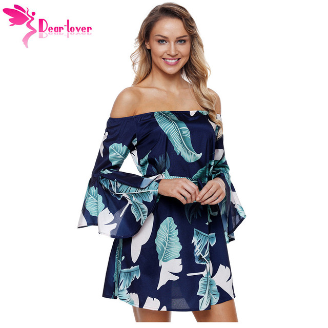 09c214dbdf5b Dear Lover Boho Style Tropical Leaf Print Navy Long Sleeve Off Shoulder  Dress Female Tunic Short