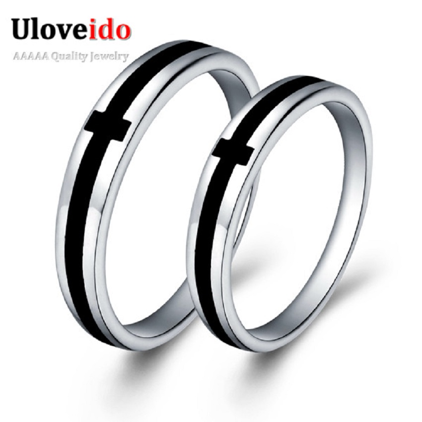 price for a pair silver color black cross couple rings. Black Bedroom Furniture Sets. Home Design Ideas