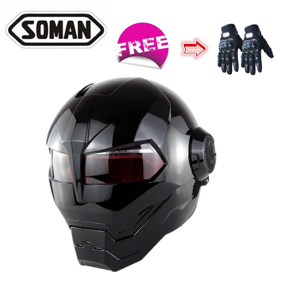 Soman шлем с полным лицом винтажный мотоциклетный шлем для мотокросса внедорожная каска защита головы Байк езда Гонки + Бесплатные Перчатки
