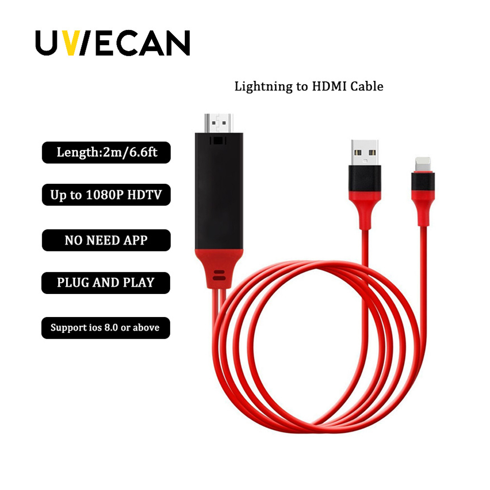 High Speed 8 Pin HDMI Cable For Lightning To HDMI HDTV TV Adapter Digital AV For iPad Pro Air For iPhone X XR 8 7 7 Plus 6S 6 5S цена