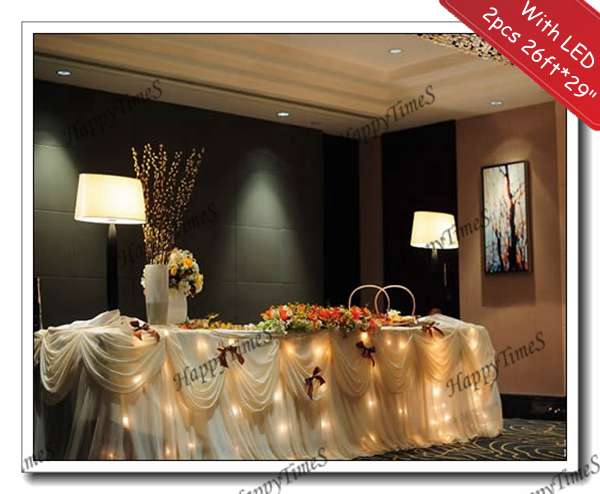 2pcs/lot Beatiful Wedding Decoration Ruffled Table Skirt With Metal  Clipsu0026LED Light In Warm White
