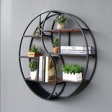 Wall-mounted solid wood shelves of decorated with a circular display rack