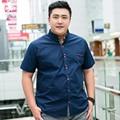 MÁS EL TAMAÑO de Los Hombres de Camisas de Marca Con Hombres de Algodón de Manga Corta Camisa de Verano 2016 del Color Sólido Ocasional Ropa 3XL-7XL Camisa CS327