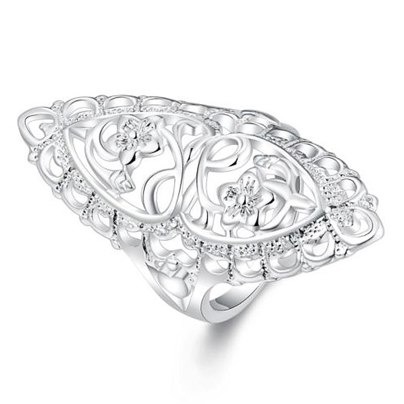 Ретро Женская Посеребренная полые цветок Свадебные Обручение обещание кольцо диапазона ювелирные изделия