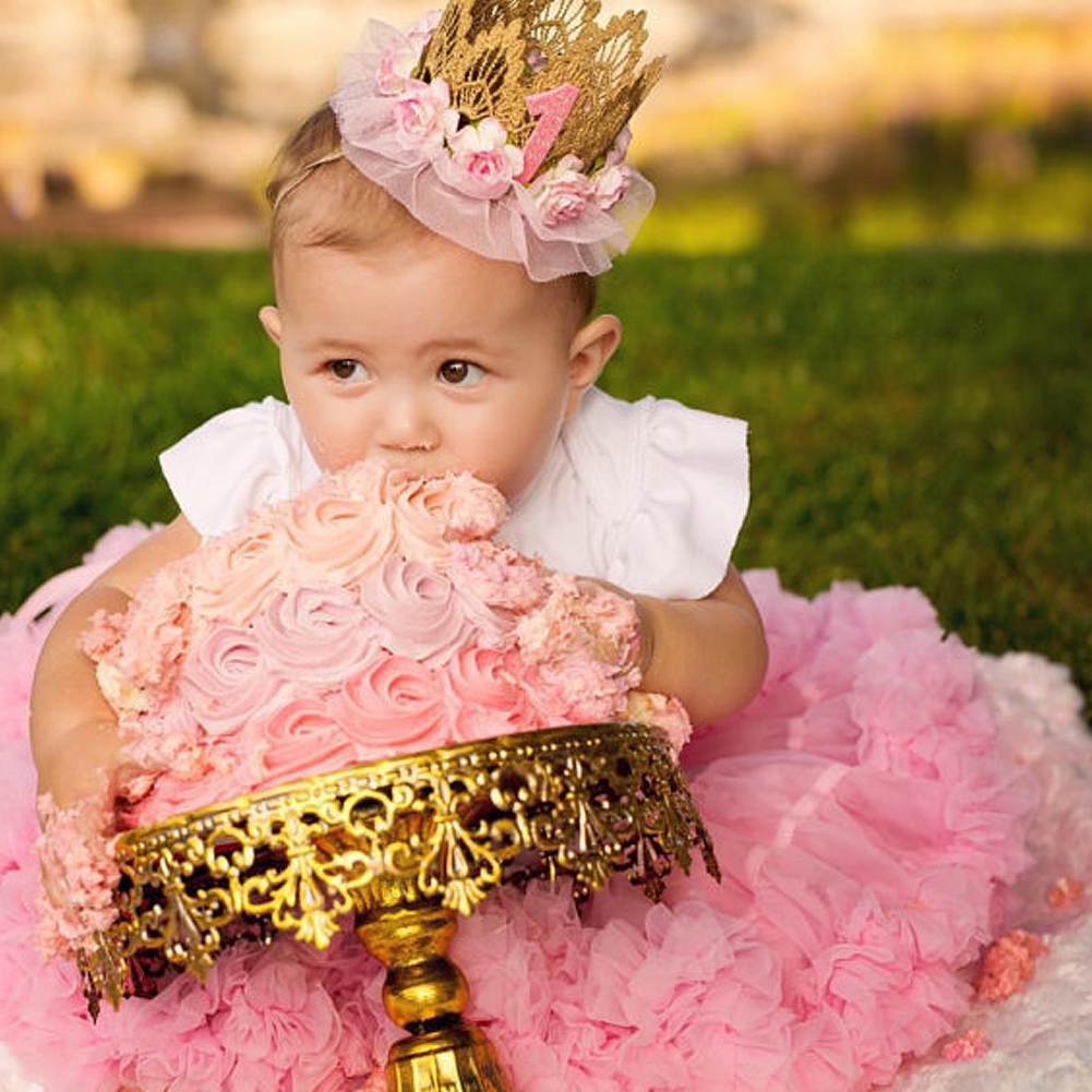 Baby Girl First Birthday Party Tiaras Flower Crown Headband 1 Year Number  Priness Style Birthday Hat Baby Girls Hair Accessory 1a027094fbb