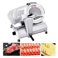 Electric meat slicers frozen beef mutton roll cutter stainless steel fruit vegetable slice cutting machine adjust thickness tool