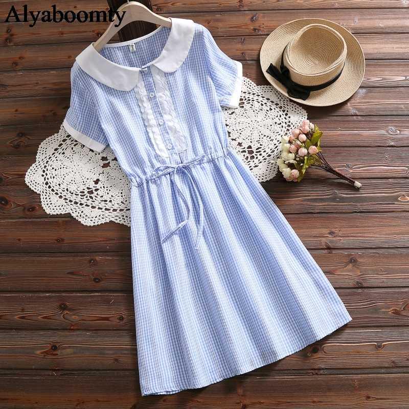Mori Girl, летнее женское милое платье, воротник Питер Пэн, синее, серое, с оборками, на шнуровке, платье с коротким рукавом, элегантное милое платье в клетку Kawaii