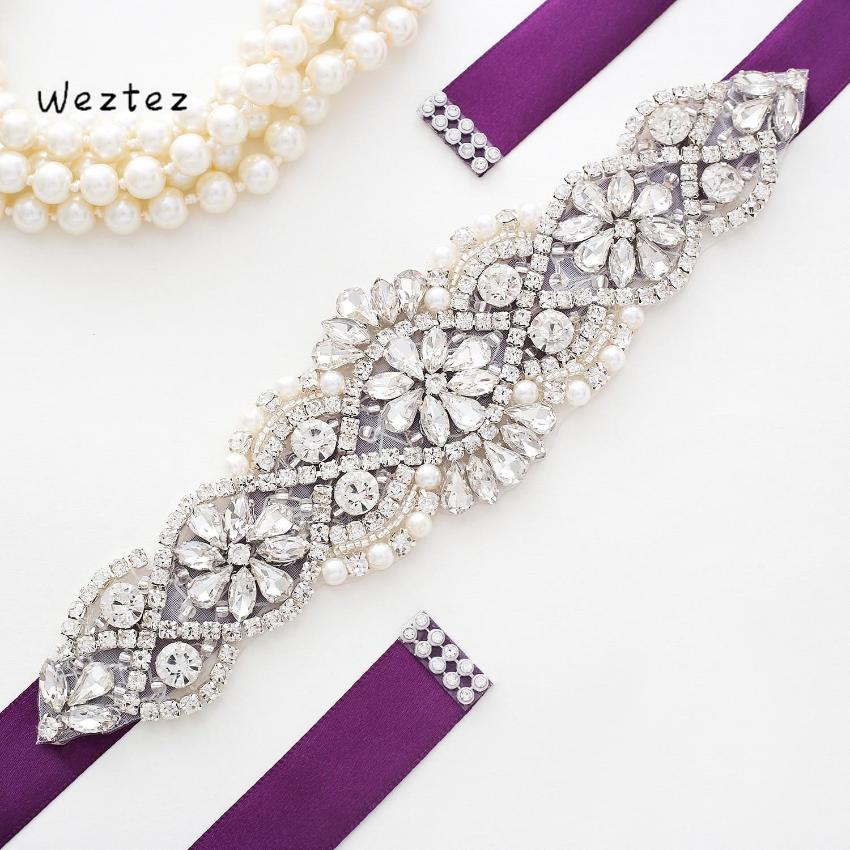 Silver Crystal Wedding Belt Rhinestone Bride Belt Handmade Bride Dress Belt  For Wedding Dress Accessories SD104S