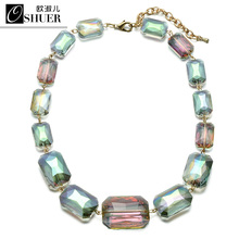 OSHUER New 2 colors Women handmade big crystal beads Choker Necklace Fashion Statement Necklaces for Women