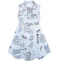 Girls Dress School Uniform Letter Sleeveless Ruffle Dress Cotton 2017 Summer Princess Wedding Party Dresses Clothes