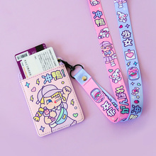Cartoon Card Holder Women Leather Key Chain Bag Small Card Wallets Female Organzier Mini Credit Card Case Zipper Coin Bags